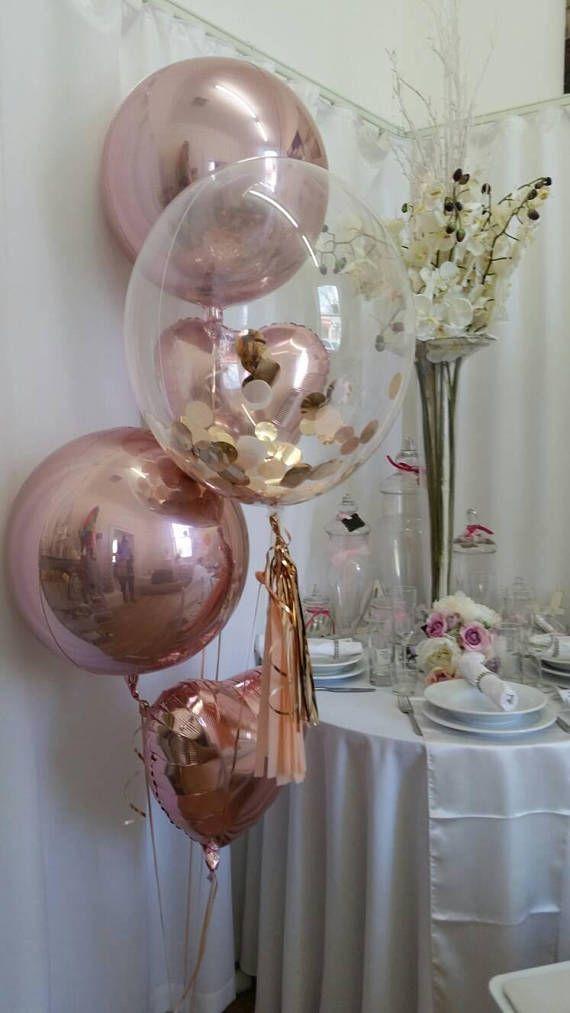 """Rose Gold Konfetti klare Blase Ballon 24 """", Ballon Quasten DIY Kit oder Rose Gold Konfetti & Bouquet Kit, Konfetti Luftballons, Rose Gold Orbz"""