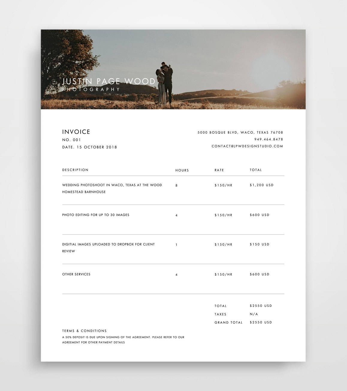 Invoice Photography, Invoice Template, Invoice Template Photography ...