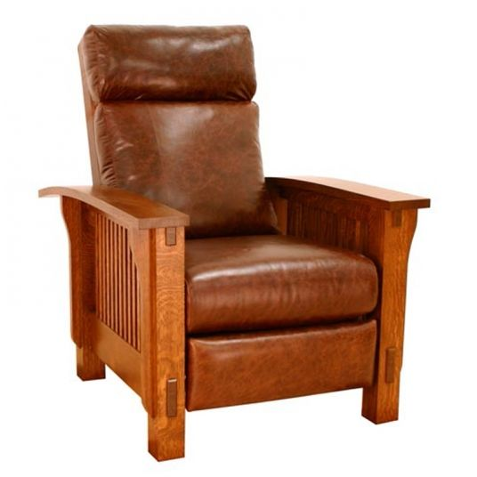 Genial Mission Style Leather Recliner, Discount Furniture At Ami.