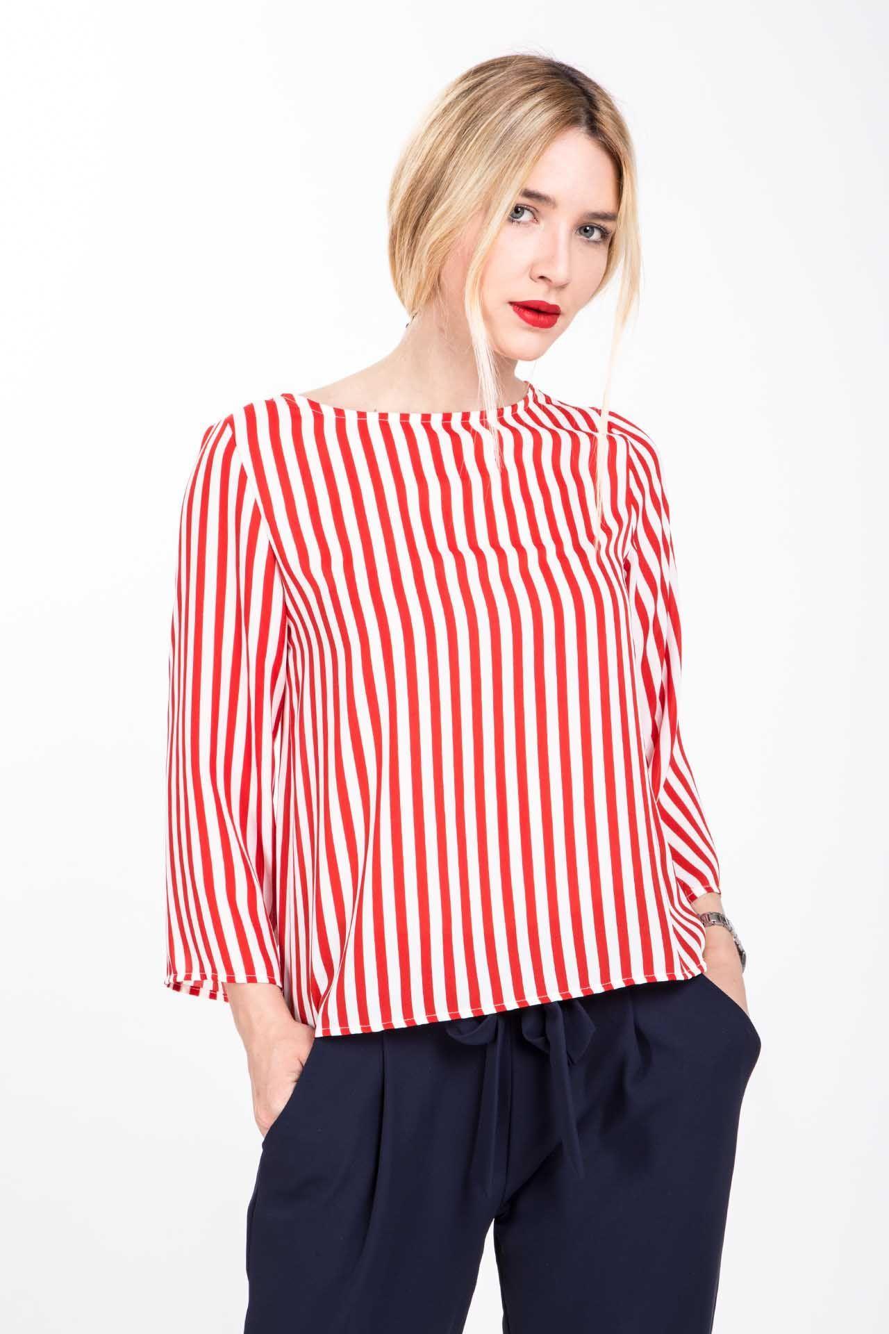 Camicia con scollo a barca - rigo rosso   camicie donna   Pinterest
