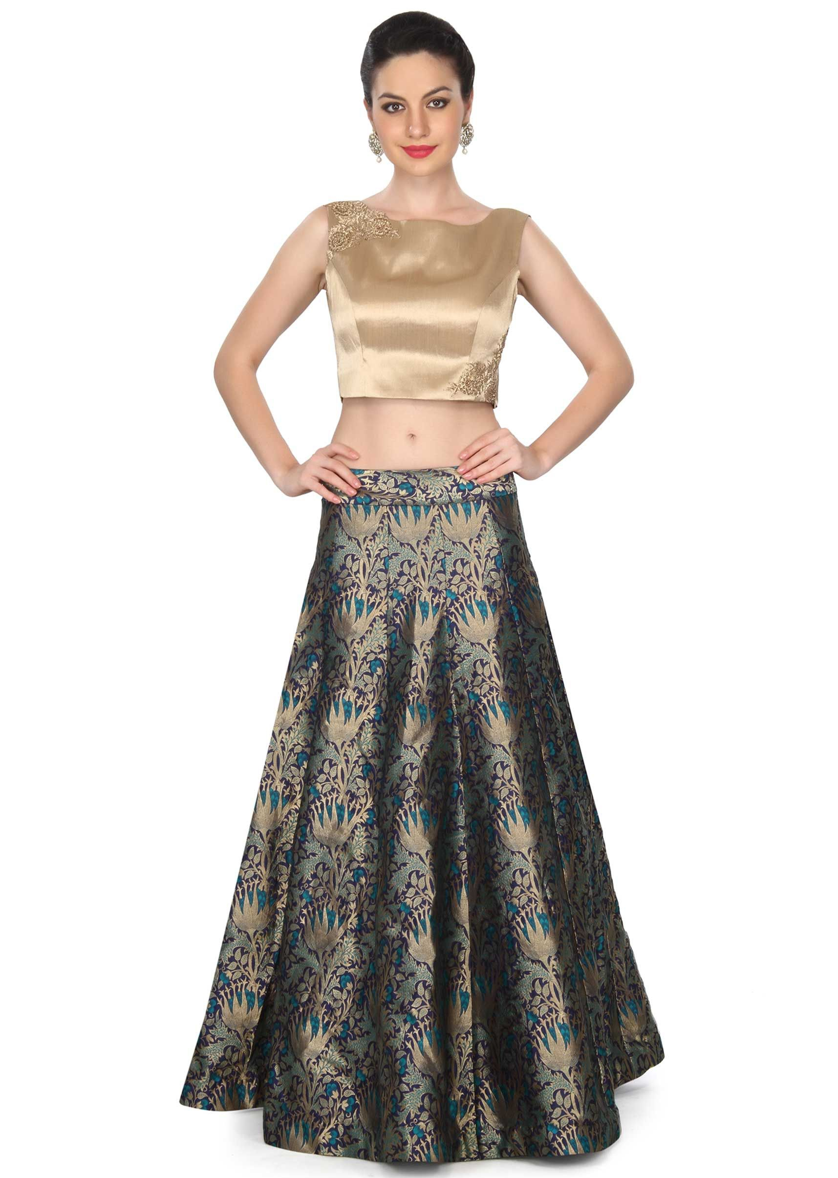 f22f6500feda47 Matched with gold lurex crop top with zardosi and sequin embroidery. Slight  variation in color is possible. 95% of our customers believe that the ...
