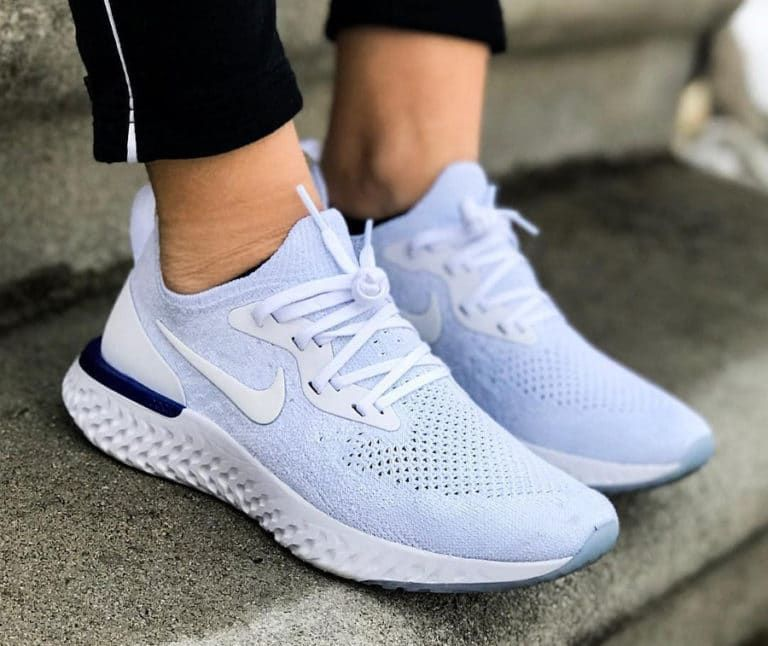 38f6a2384a Nike Epic React Flyknit femme White Racer Blue on feet Nike Trainers, Sneakers  Nike,