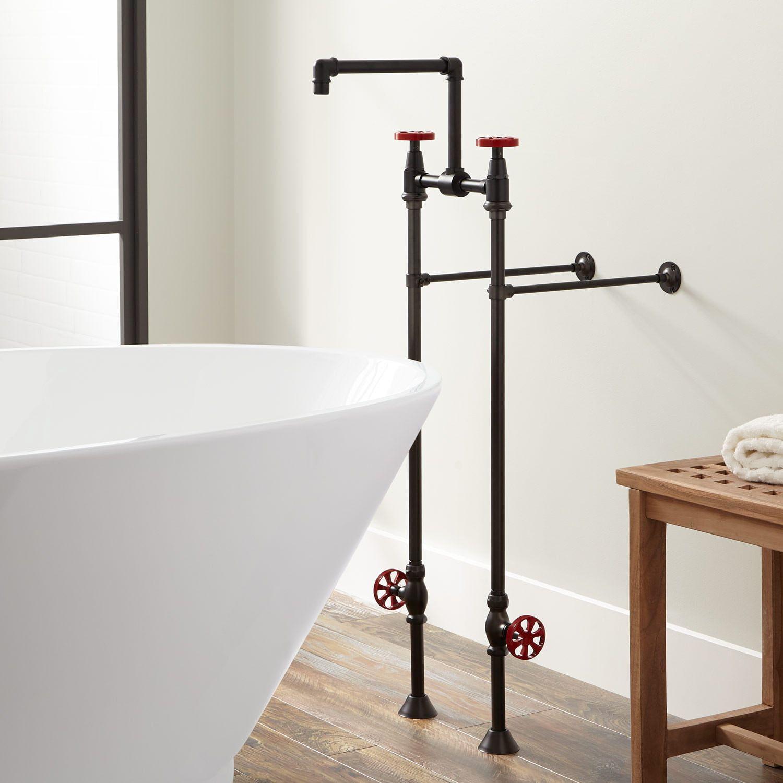 Edison Freestanding Tub Faucet With Shutoff Valves Freestanding