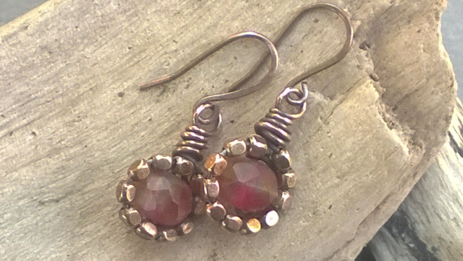 Sweet Little Rosey Pink and Copper Dangle Earrings by LindaNiemanJewelry on Etsy