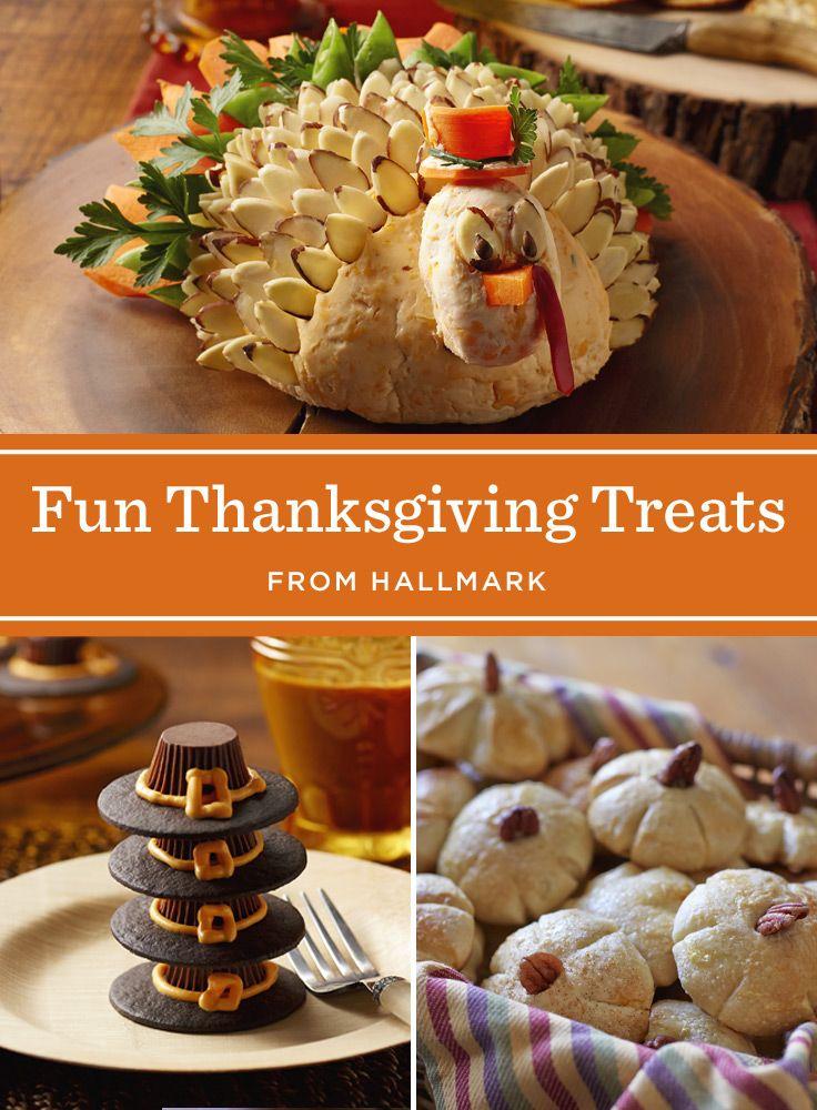 Fun & Easy Thanksgiving Treats | Add a little fun to your Thanksgiving feast with these Thanksgiving treat recipes: Pilgrim Cookie Hats, Pilgrim Potato Boats, Pumpkin Rolls and a Turkey Cheese Ball. #Hallmark #HallmarkIdeas