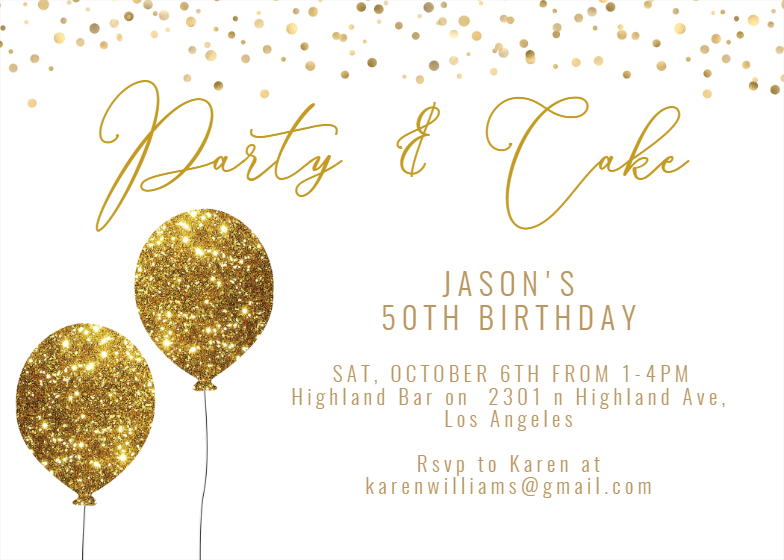 Gold Glitter Birthday Invitation Template Free Greetings Island Glitter Invitations Glitter Invitations Birthday Glitter Party Invitations