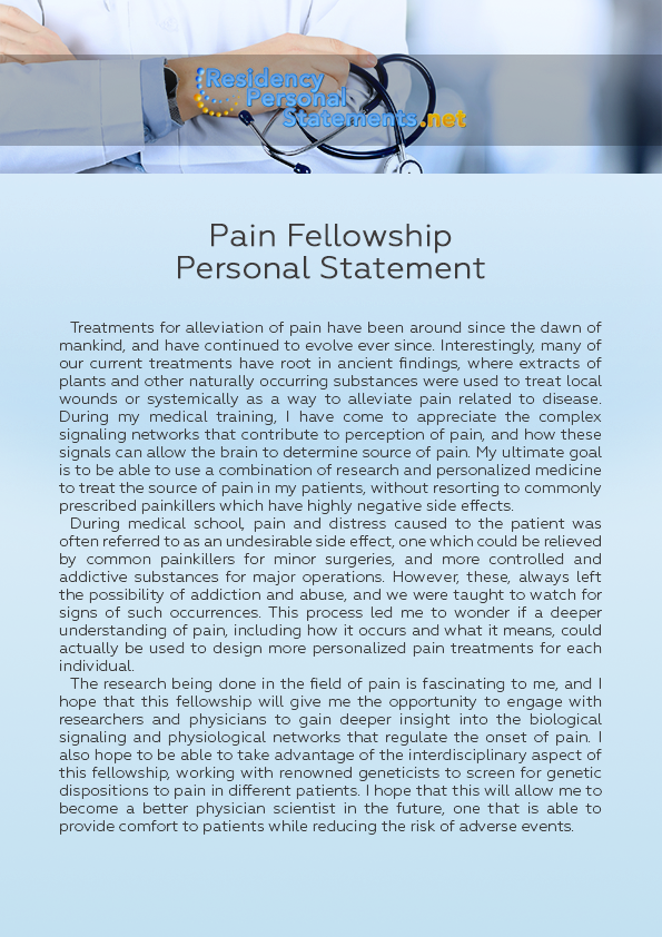 Pain Fellowship Personal Statement Sample That Will Teach You How
