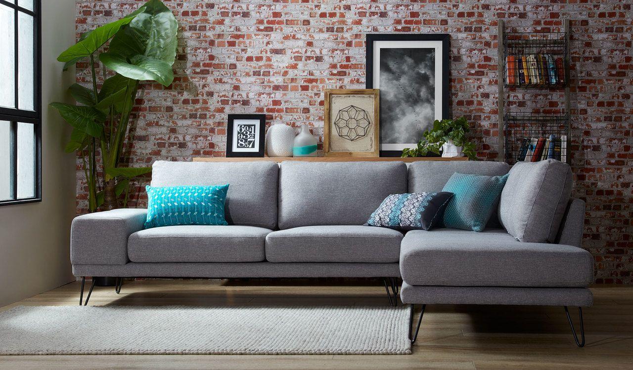 Grey Corner Sofa Metal Legs In 2020 Corner Sofa Living Room Sofa Furniture