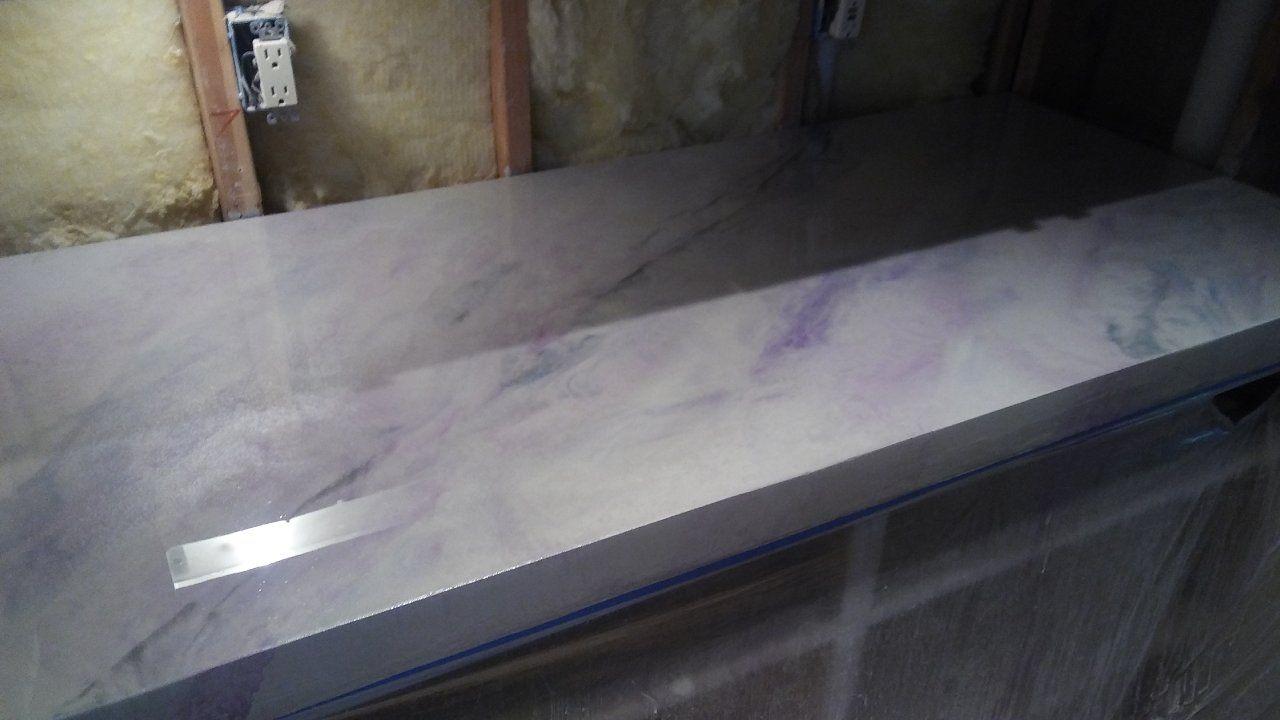 White And Blue Marble Epoxy Countertops Houston Tx Concrete