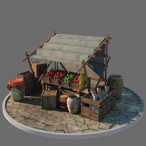 market stall model Medieval Market, Medieval Houses, Medieval Town, Vitrine Miniature, Miniature Rooms, Miniature Houses, Environment Concept Art, Environment Design, Minis #miniaturerooms