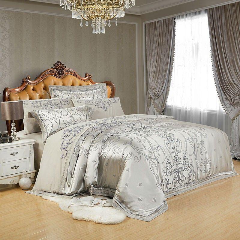 46 Stücke Luxus Silber Goldene Silk Satin Bettwäsche Sets Bettdecke