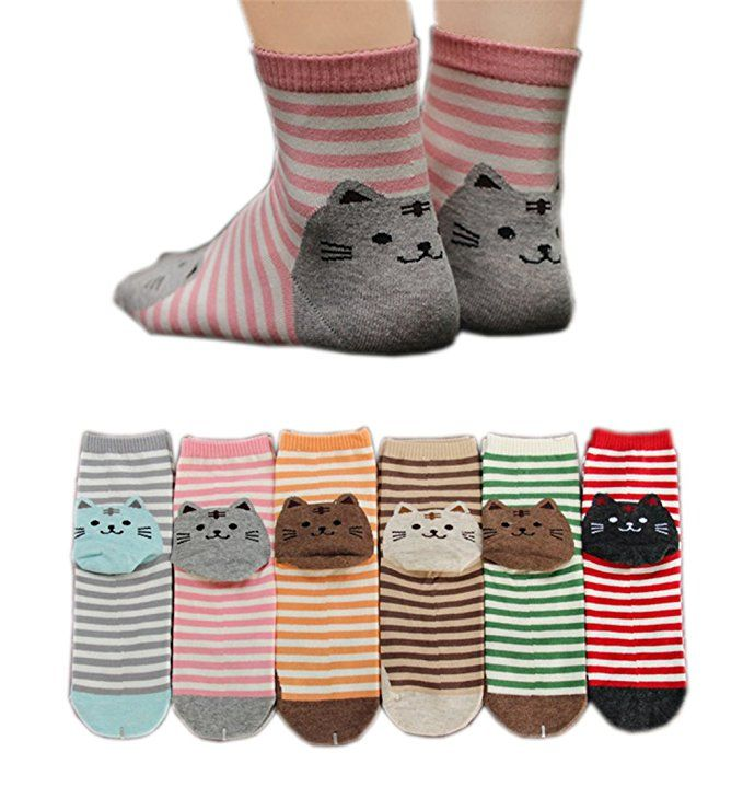 6 Pairs Stripe NoShow Liner Cute Women Casual Cotton Korean Socks Great Gifts