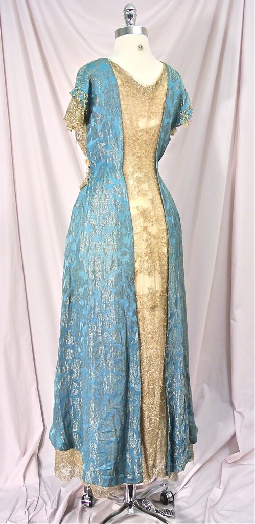 1910  Edwardian Peacock Blue Metallic Gold Silk Brocade Jeweled Ballgown Party Dress! *Amazing* Couture Design w/Label, Jewels & Ermine Fur! Back sideway