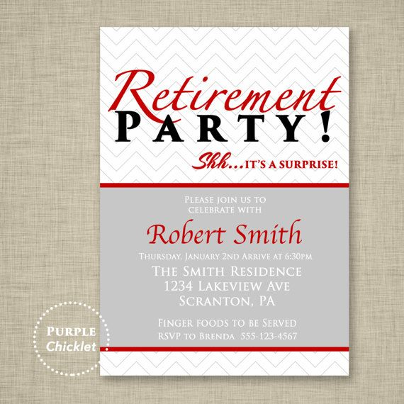 Red Surprise Retirement Party Invitation Farewell