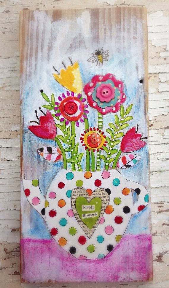 Mixed Media Flowers Springtime Mothers Day by evesjulia12 on Etsy, $56.00