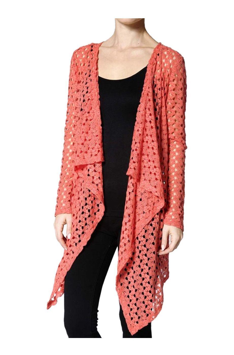 Long Sleeve Crochet Lace Flyaway Cardigan | Crochê | Pinterest ...