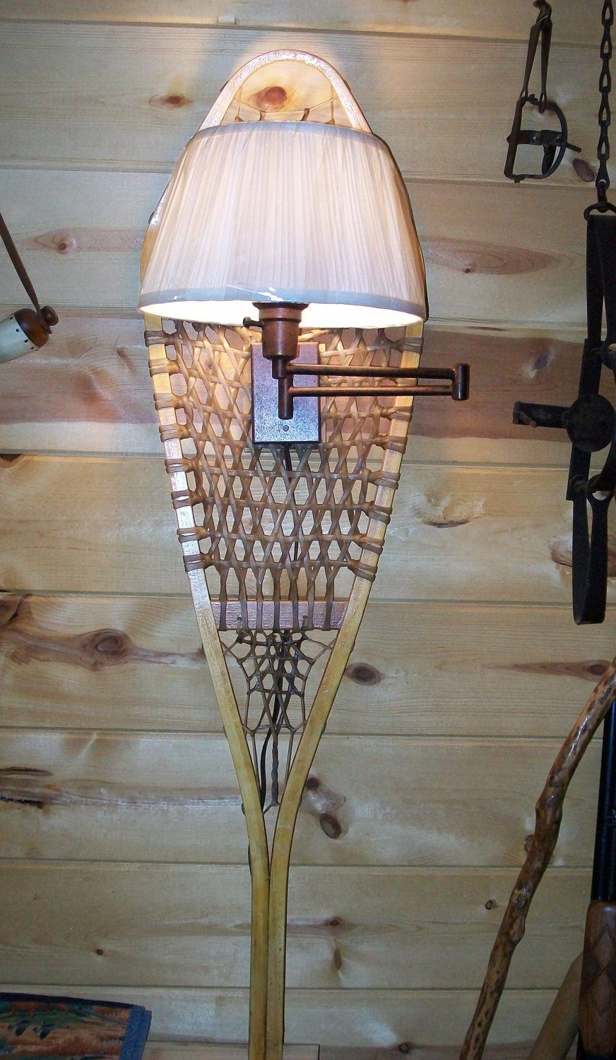 Rustic Snowshoe wall lamp cabin lodge decor light | Lodge ...