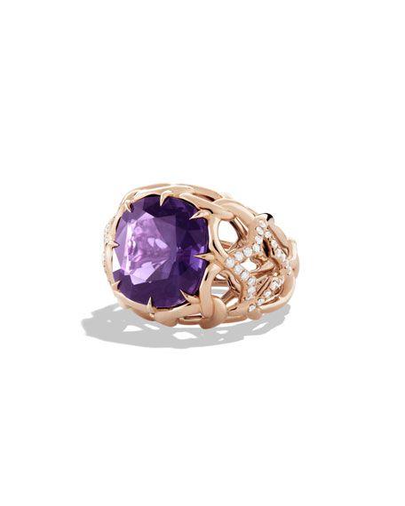 DAVID YURMAN ~ Venetian Quatrefoil ring with amethyst and diamonds in rose gold