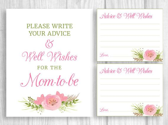 please leave your advice and well wishes for the mom to be pink watercolor flower baby shower sign and cards 8x10 by weddingsbysusan