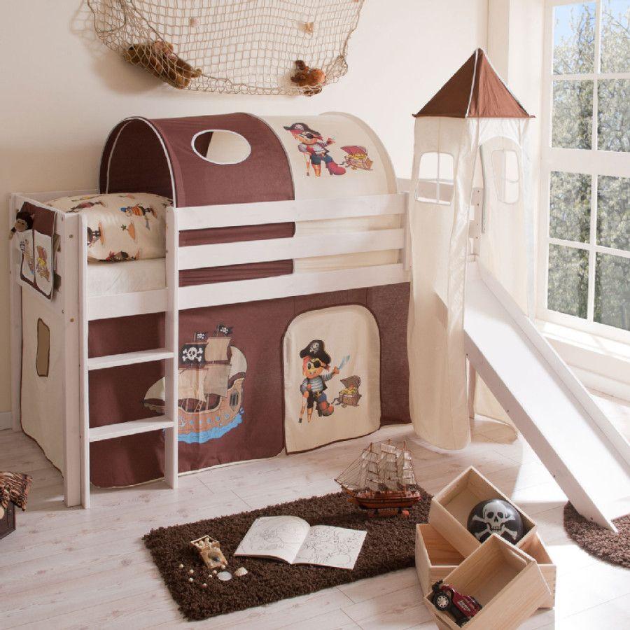 Ticaa rutschbett kasper kiefer wei mit turm pirat braun beige ticaa hochbett etagenbett - Kinderzimmer sandfarben ...