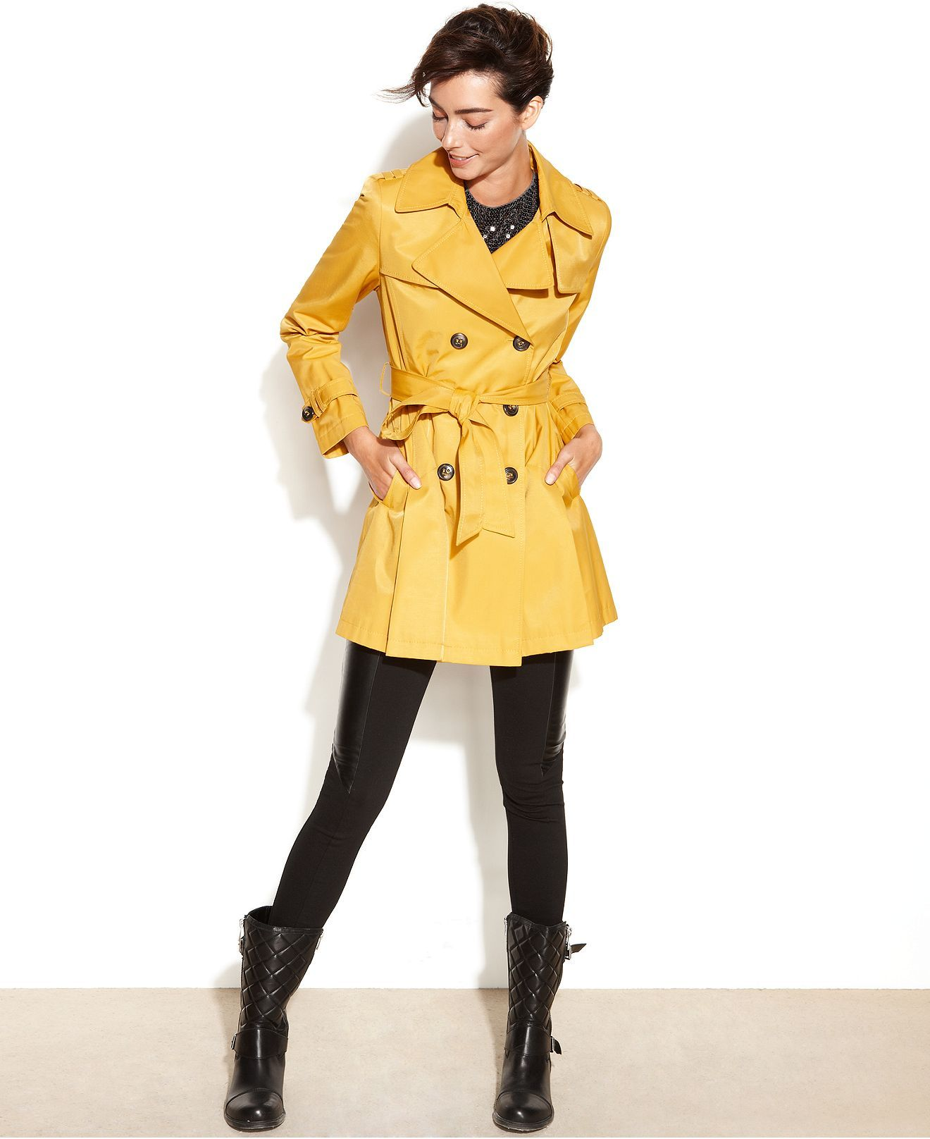 DKNY Coat, Double-Breasted Belted Trench - Coats - Women - Macy's