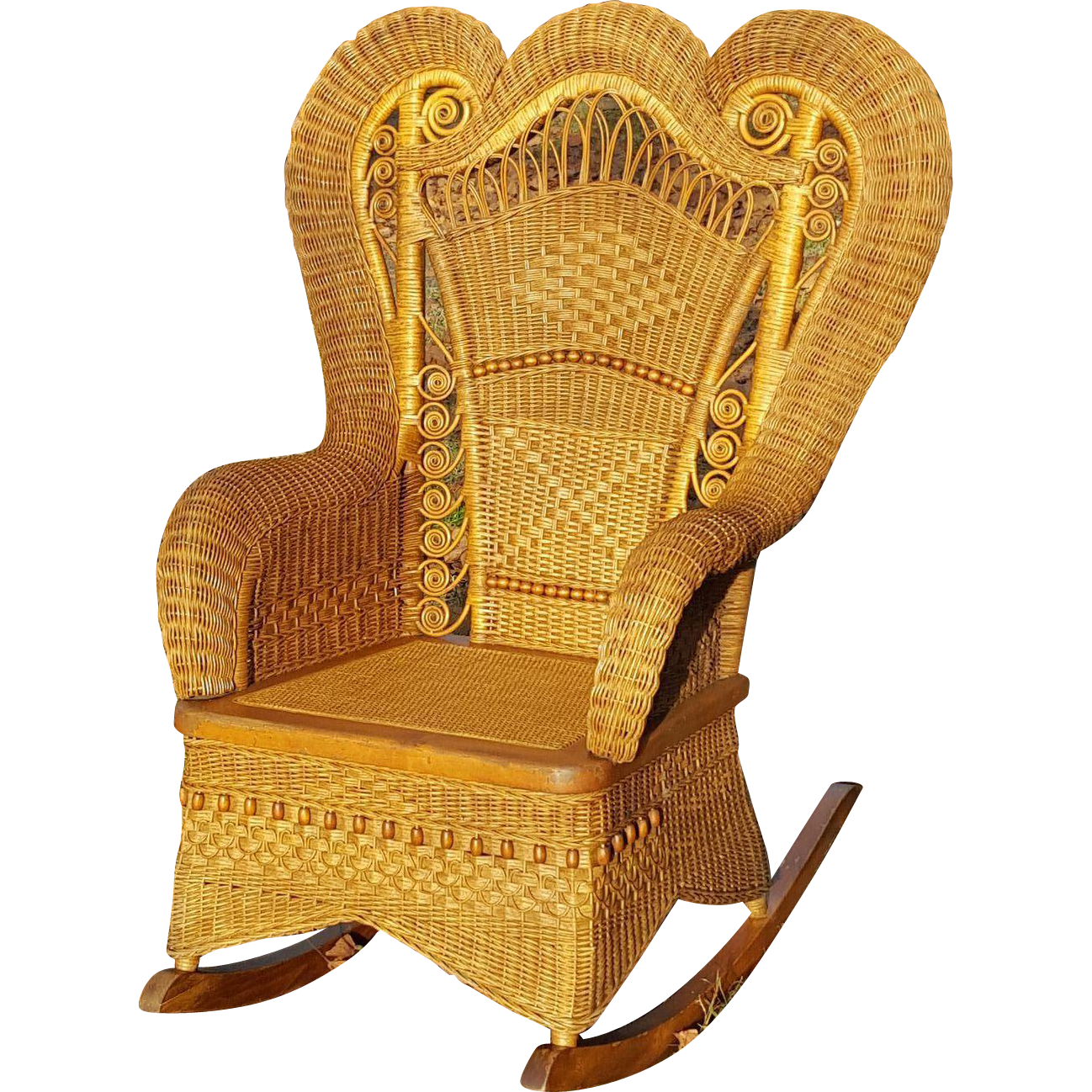 Peachy Antique Large Ornate Natural Victorian Wicker Rocker Circa Dailytribune Chair Design For Home Dailytribuneorg