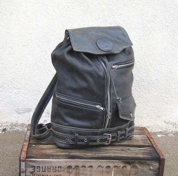 Vintage Rugged Motorcycle Jacket Black Leather Backpack | My Style ...