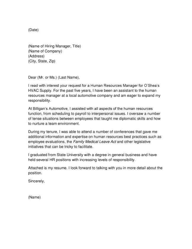 Cover Letter Dear Personnel Manager
