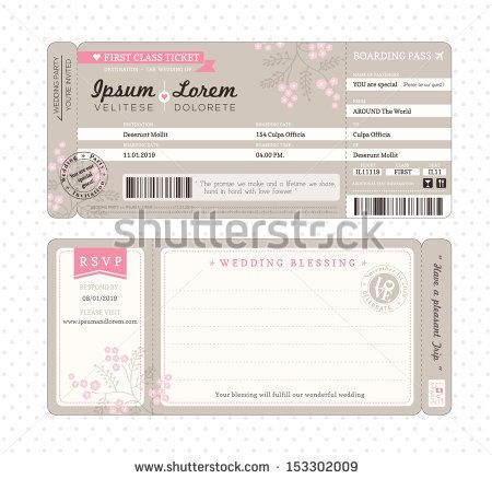 Couple Before Wedding With Red Sign On Their Hands, We Are Getting - plane ticket template