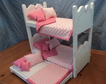 Doll Bunk Bed And Trundle For American Girl Dolls Or 18 Inch Dolls