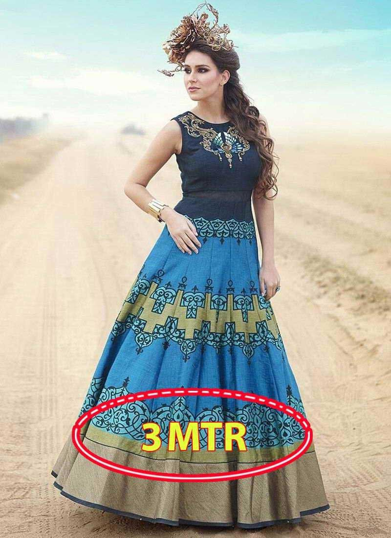 Flourish Blue Coloured Bhagalpuri Digital Print Indian Designer Gown ...