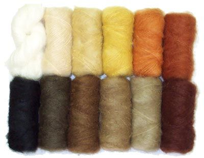 Mohair and boucle yarns in doll hair colors. Complete waldorf dollmaking supplies from Weir Dolls and Crafts