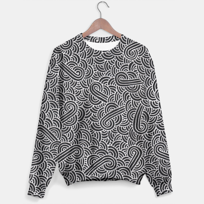 """Black and silver zentangles"" Unisex Sweater by Savousepate on Live Heroes #sweatshirt #apparel #clothing #pattern #graphic #modern #bling #abstract #doodles #zentangles #scrolls #spirals #arabesques #black #grey #gray #silver"
