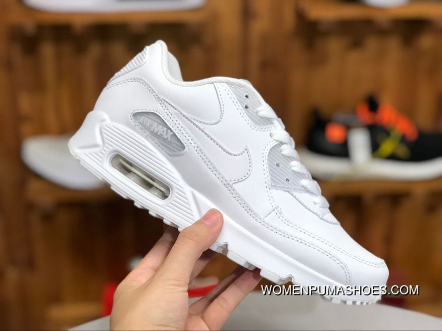c185b6bed0 Nike Air Max90 Pure White Leather Women Zoom Casual Shoes Running Shoes  302519-113 Size Free Shipping