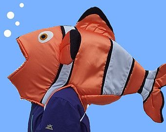Flounder fish head costume fits adult or child satin by for Fish head costume