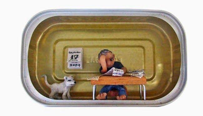 One of Nathalie Alony's miniature dioramas made inside a sardine can