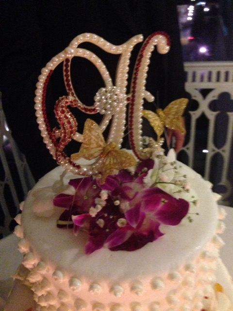 Wedding Cake Topper Pearl Monogram W Swarovski Crystals Destination Resort Any Letter A To Z H