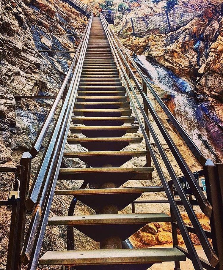 Climb The 224 Stairs Of Seven Falls To See Some Beautiful Scenery.