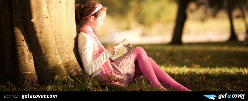 A Cool Cute girl reading facebook cover for your FB ...