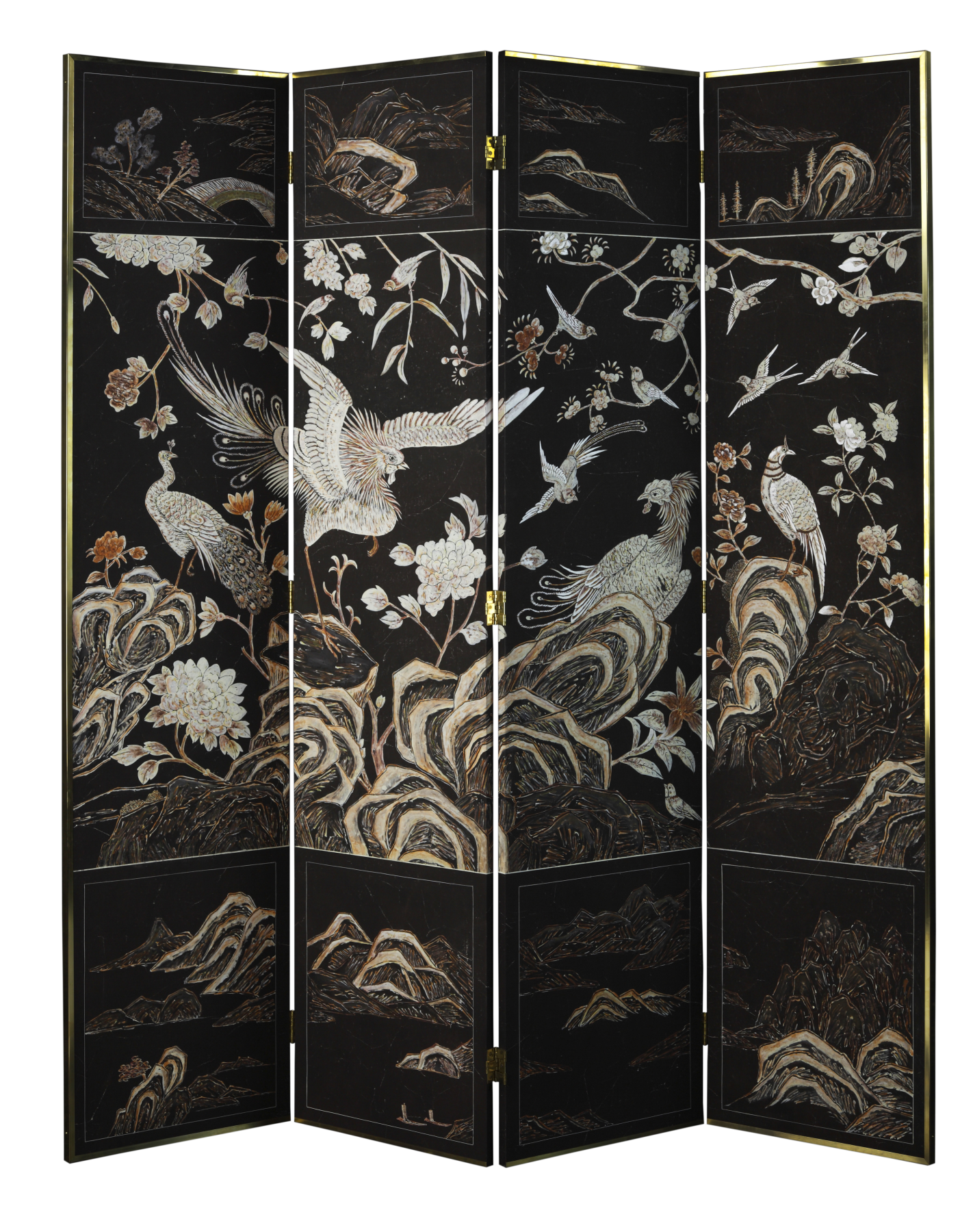 Divine De Gournay Folding Screen Eclectic Decor - Hand Painted Furniture
