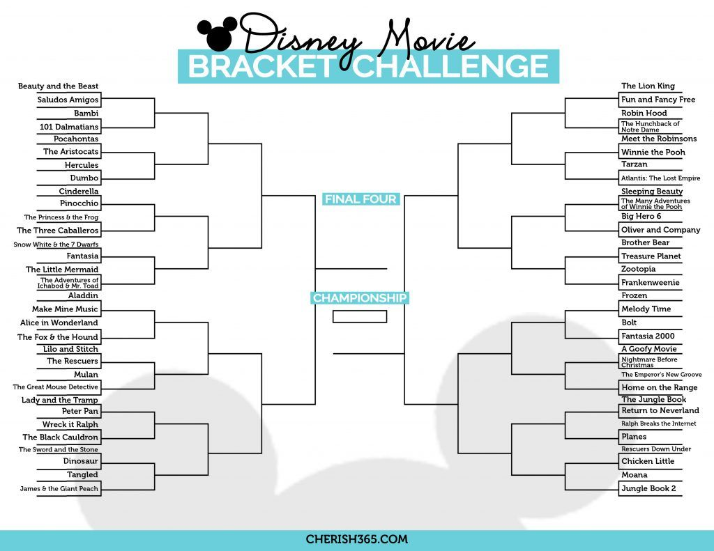 Use This Disney Movie Bracket To Plan Your Disney Movie Marathon Disney Movie Marathon Classic Disney Movies Disney Movies To Watch