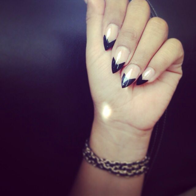 Black french tip stiletto nails