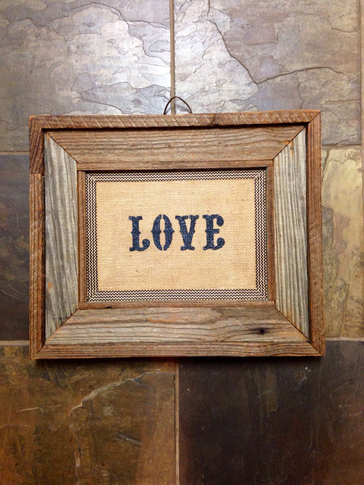 LOVE on burlap with chevron ribbon mat in barn wood frame | Barnwood ...