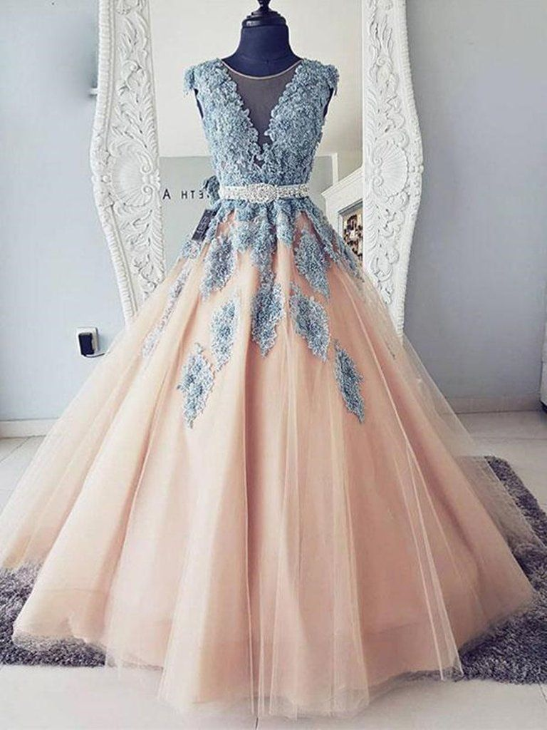 Cap Sleeves Round Neck Blue Lace Pink Tulle Long Ball Gown With Belt Lace Pink Prom Dresses Formal Dresses Lace Party Dresses Tulle Evening Dress Sweet 16 Dresses [ 1024 x 768 Pixel ]