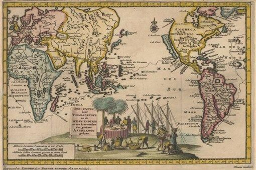 1707 MAP OF PACIFIC CAVENDISH poster with sketch of ...