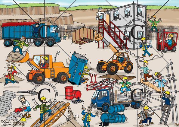Health And Safety Cartoon Quarry Construction Site