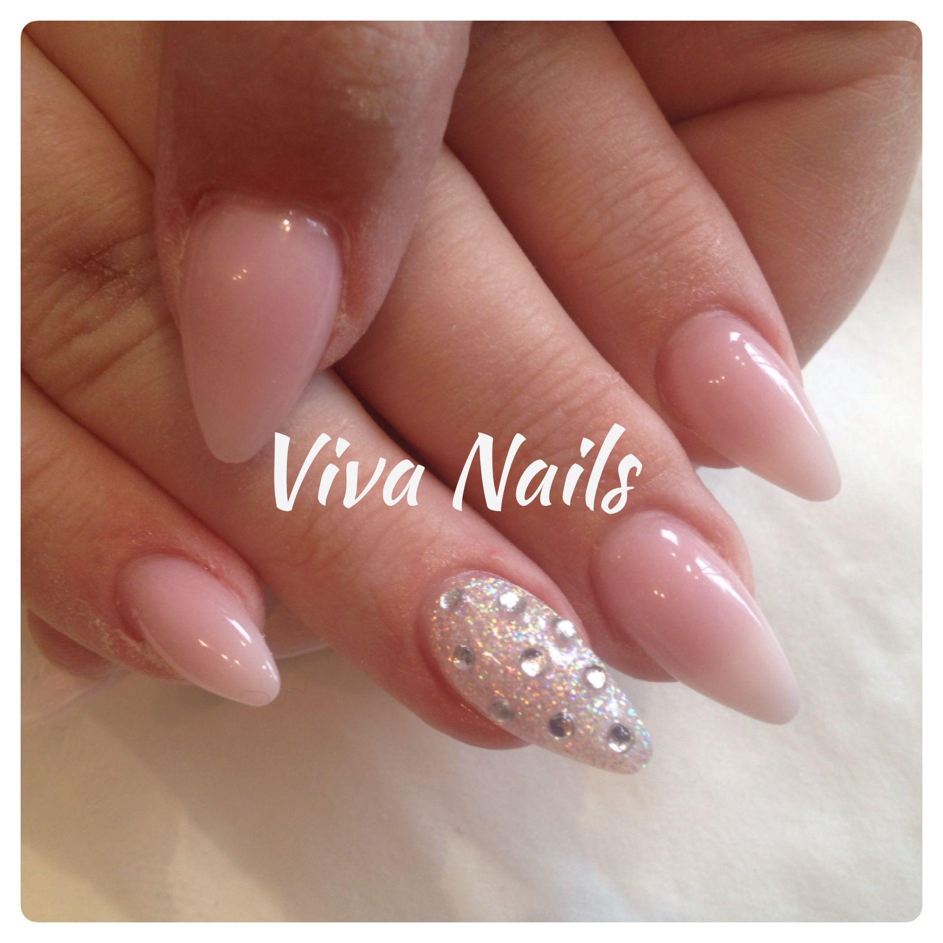 Almond Natural Acrylic Nails Glitter Statementnail Nailart Diamonds