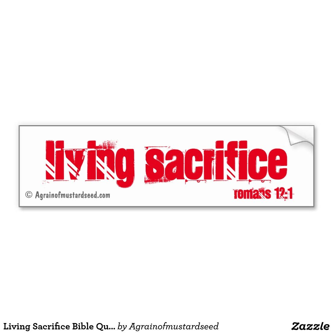 Living sacrifice bible quotes car bumper sticker