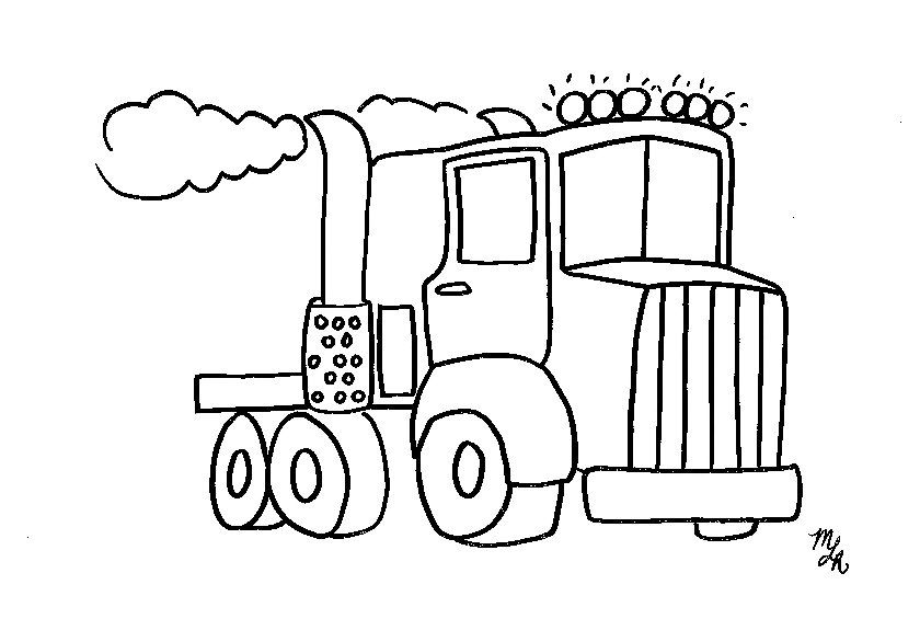 Semi Truck Coloring Pages Free Printable Big Rig Truck Coloring