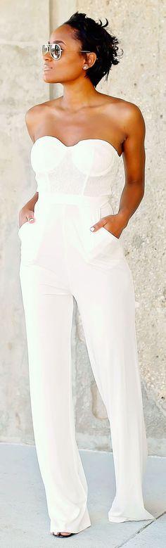 Ladies White Jumpsuits Photo Album - Reikian